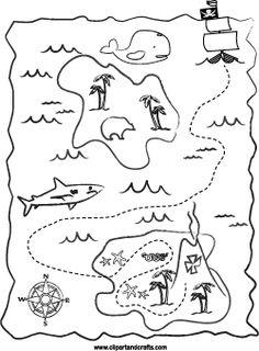 Pirates Treasure Map Printable Page Treasure Maps For Kids, Pirate Treasure Maps, Pirate Maps, Map Activities, Primary Activities, Summer Preschool Themes, Preschool Crafts, Art For Kids, Crafts For Kids