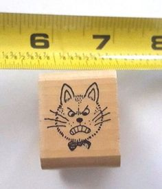 Kidstamps-rubber-stamp-Angry-Cat-USED-RARE-Marilyn-Hafner-Illustrator