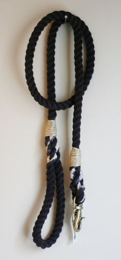 Black Rope Dog Leash by GreenTroutOutfitters on Etsy
