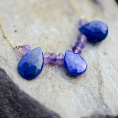 Collier plaqué or avec Amethyste et Lapis Lazuli Lapis Lazuli, Nameplate Necklace, Gold Plating, Tv Shopping, Jewelry