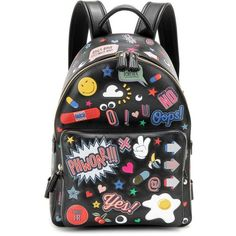 Anya Hindmarch All Over Wink Mini Leather Backpack ($2,700) ❤ liked on Polyvore featuring bags, backpacks, multicoloured, backpack bags, leather bags, leather mini bag, colorful backpacks and multi color backpack
