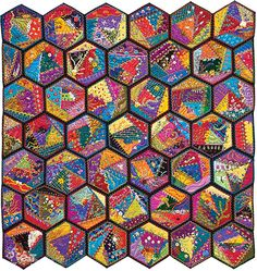 This gorgeously illustrated primer is an introduction to the joys of making heirloom crazy quilts. Discover which fabrics, threads, and needles to use, how to piece crazy quilt blocks, and much more. Includes full-size patterns for 9 hexagonal blocks. Crazy Quilt Blocks, Crazy Quilting, Quilting Projects, Quilting Designs, Craft Projects, Support Photo, Scrappy Quilts, Patchwork Quilting, Hexagon Quilting