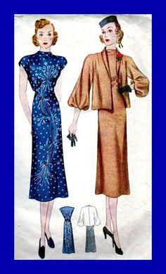 Vintage 1930 Sewing Pattern 2715 - glamour Misses' abito da sera e giacca - abito ha scollo drappeggiato - Busto 32 di anne8865 su Etsy https://www.etsy.com/it/listing/171517220/vintage-1930-sewing-pattern-2715-glamour