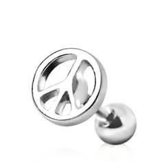 316L Surgical Steel Cartilage Earring with Peace Sign (good site for body jewelry)
