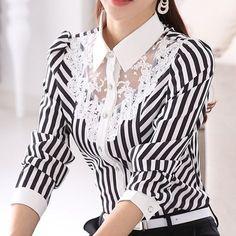 2017 New Women Lace Blouses Long Sleeve Lapel Striped Shirt Casual Fashion OL Work Tops Blusas Femininas Plus Size . Mode Pop, Camisa Formal, Striped Long Sleeve Shirt, Striped Shirts, Striped Tops, Striped Blouses, Work Tops, Lace Tops, Lace Blouses