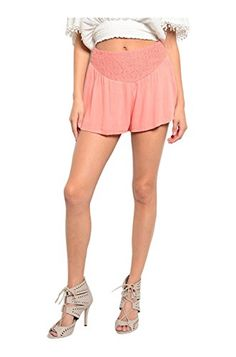 2LUV Womens Dressy Chic Crochet Trimmed Shorts Salmon L SEN70R7WC -- Click image for more details.
