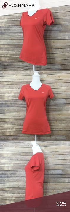 Red Nike Pro Core Fitted V-Neck Training Top Sz M Nike Pro Core Fitted V-neck Training short sleeve Dri-fit Top Medium in Red (635). EUC, worn once of twice. Dri-fit fabric wicks sweat to help keep you dry and comfortable. 84% polyester and 16% spandex. 26.5 inches from shoulder to bottom seam of shirt. Nike Tops Tees - Short Sleeve