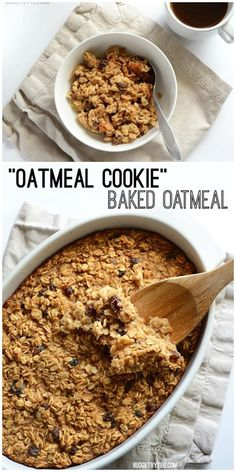 This freezable Oatmeal Cookie Baked Oatmeal tastes like an oatmeal cookies older, more healthful sibling. Bake it on Sunday night and eat well all week. Baked Oatmeal Recipes, Vegan Baked Oatmeal, Healthy Oatmeal Breakfast, Cooking Oatmeal, Baked Oats, Amish Baked Oatmeal, Oatmeal Breakfast Cookies, Baked Breakfast Recipes, Healthy Oatmeal Cookies