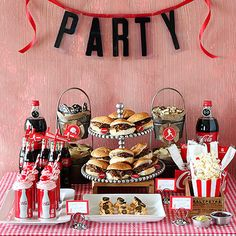 We love this Coca-Cola themed party decor. Perfect for a birthday party, anniversary, or just because! Teen Sleepover, Sleepover Party, 50s Theme Parties, Party Themes, 1950s Party Decorations, Ideas Party, Pizza Party, Hamburger Party, Red Carpet Theme Party