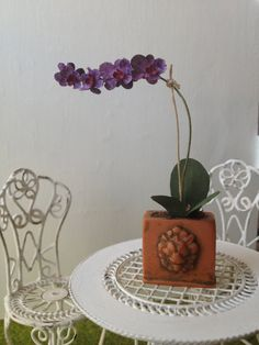 Orchid miniature Dollhouse scale 1:12 by MadeInEven on Etsy