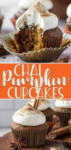 In case your fall treats aren't spiced enough, these tasty Chai Pumpkin Cupcakes are made with a blend of chai and pumpkin spices & whipped cream cheese! Cakes To Make, Pumpkin Cupcakes, Pumpkin Dessert, Cupcakes Fall, Cupcake Flavors, Cupcake Recipes, Köstliche Desserts, Delicious Desserts, Mini Cakes