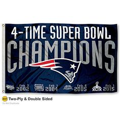 New England Patriots Double Sided 4 Time Super Bowl Champions Flag ** Want additional info? Click on the image.
