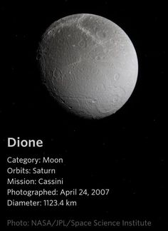 Dione -a Saturn Moon Space Planets, Space And Astronomy, Sistema Solar, Saturns Moons, Astronomy Pictures, Planets And Moons, Space Facts, Planetary Science, Space Photography