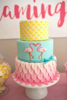 3-tier cake from Flamingo + Flamingle Pineapple Party at Kara's Party Ideas. See more at http://karaspartyideas.com!