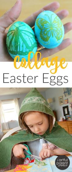 Make these pretty collage Easter eggs with images from printed paper napkins. This project is easy enough for children to do and the results are beautiful.