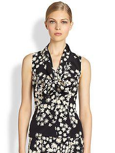 Carolina Herrera Silk Floral Blouse