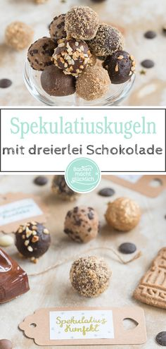 Diese Spekulatius-Pralinen sind nicht nur absolut köstlich, sondern auch ein to… These speculoos are not only absolutely delicious, but also a great gift from the kitchen. The speculoos balls taste with white and dark chocolate. Chocolates, Chocolate Navidad, Cake Recipes, Dessert Recipes, Confectionery, Chocolate Desserts, Baking Chocolate, Food Cakes, Cakes And More