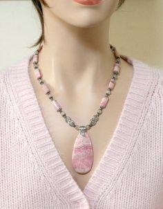 Big Bold Pink Rhodochrosite Pendant Necklace FREE by Karenda Diy Necklace, Necklace Designs, Gemstone Necklace, Pendant Necklace, Beaded Jewelry, Jewelry Necklaces, Bracelets, Homemade Jewelry, Bijoux Diy
