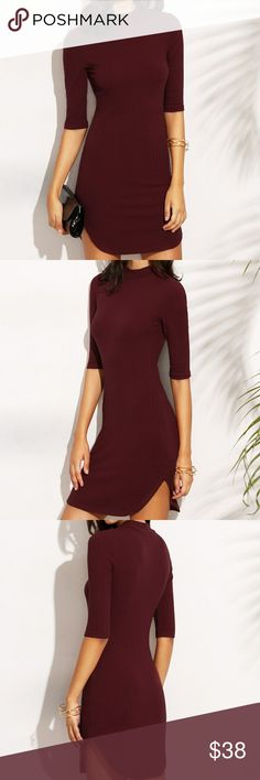 NOW AVAILABLE! BURGUNDY DRESS DOLPHIN HEM RIBBED FITTED DRESS IN BURGUNDY. FABRIC IS 93% COTRON AMD SPANDEX. SIZE CHART LAST IMAGE. Dresses