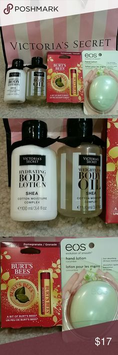 Brand new VS and Burt's Bees gift set Brand new winter gift set premade by me! Includes 2 Victoria's Secret Shea body oil and body lotion, both 3.4 fl oz. Burt's Bees pomegranate lip balm and lemon butter cuticle cream. EOS cucumber scented 1.5 fl oz hand lotion. No paypal or trades. Victoria's Secret Makeup