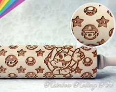 Super Mario pattern rolling pin for making cookies, pies and cakes by RainbowRollingPins