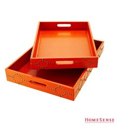Trays with nail head detailing - perfect for a coffee table or even a bar cart. Storage Organization, Storage Ideas, Organizing, Homesense, Nail Head, Smart Storage, Organize Your Life, Houzz, Dream Life