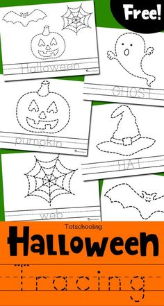 Halloween Tracing Worksheets Free Halloween Themed Tracing And Coloring Pages For Kids To Practice Fine Motor Skills And Handwriting Kids Can Trace A Picture And A Word Then Color Everything In Great Halloween Activity For Preschool And Kindergarten Kids Halloween Tags, Theme Halloween, Halloween Week, Kids Halloween Crafts, Halloween Words, Halloween Worksheets, Halloween Activities For Kids, Holiday Activities, Halloween Crafts Kindergarten