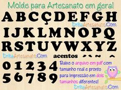 Moldes de letras em eva, patch aplique ou feltro