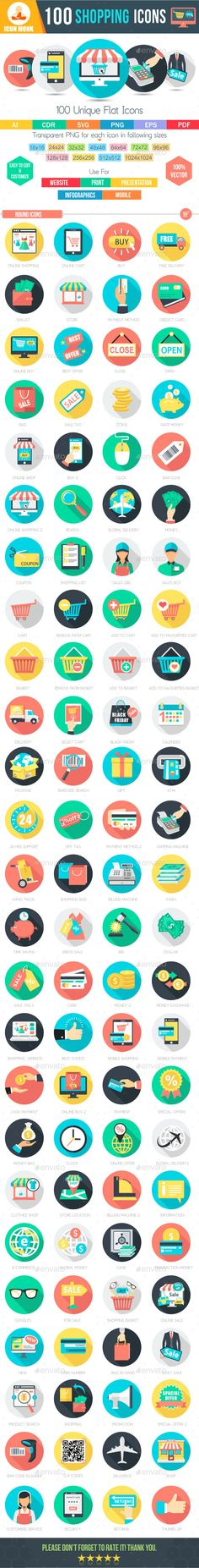 100 Shopping Flat Icons. Download here: http://graphicriver.net/item/100-shopping-flat-icons-/14780241?ref=ksioks