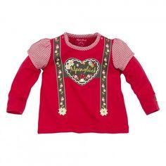 Trachten T-Shirt ´Hosenträger Herz´ rot im Lederhosen Look