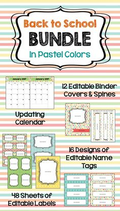 Organize your classroom for the upcoming school year with this Back to School Bundle featuring an updating editable calendar in 3 versions, 12 different editable binder covers (matching spines included), 48 sheets of editable labels, and 16 designs of editable name tags.  All in beautiful pastel colors.