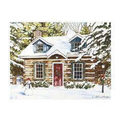 18ct Log Cabin Holiday Boxed Cards ($8.89) ❤ liked on Polyvore featuring home, home decor and stationery