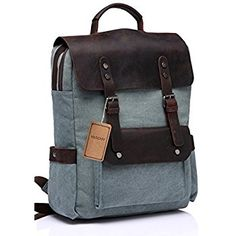 b07516f74816 Amazon.com  Vaschy Vintage Canvas Leather Backpack Campus Book-bag Outdoor  Recreation fits