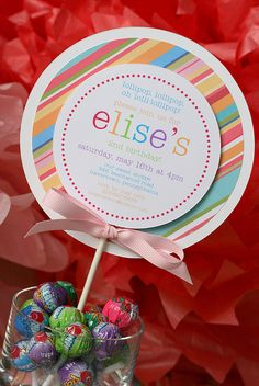 Exemple d'invitations, thème bonbons