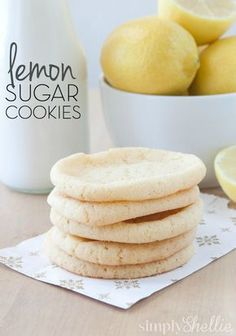 These lemon sugar cookies are one of my faves. Soft and chewy, loaded with lemon flavor, tart yet sweet. They are simply divine. Mini Desserts, Lemon Desserts, Lemon Recipes, Cookie Desserts, Just Desserts, Baking Recipes, Sweet Recipes, Cookie Recipes, Delicious Desserts