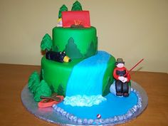 This would perfect minus the canoe and fisherman and with a kayaker running down the falls....camping cake