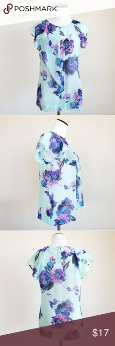 Liz Claiborne mid ruffle sheer light blue blouse Lightly worn in good condition  Mid front ruffle Liz Claiborne Tops Blouses