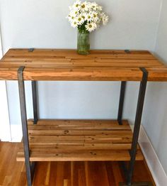 Reclaimed Wood Bar Table by DangerMade on Scoutmob Shoppe. It was once an old freight train, now it's ready for Sidecar makin'. This sturdy bar table or kitchen island is made from reclaimed wood and steel--that's it.