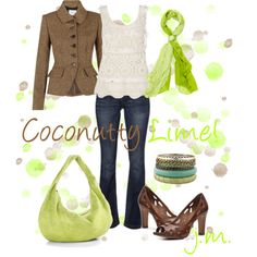 """""""Coconut & Lime"""" by jenniemitchell on Polyvore  Put de lime in de coconut, and drink 'em both up.~SGRN"""