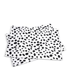 Black Spotted Placemats (also come as napkins and coasters), $20 for 2, furbish