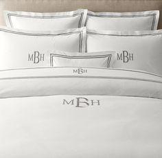 Italian Hotel Satin Stitch White Sheet Set