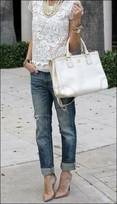 biala koronkowa bluzka stylizacja