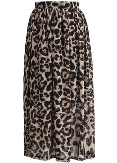 be8ebb1b6df SHEIN offers Apricot Leopard Pleated Chiffon Skirt   more to fit your  fashionable needs.