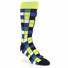 Statement Sockwear checkered design featuring the March Sock Color of the Month: lime green. Every purchase of Statement Sockwear socks provides 100 days of clean water for someone in Africa.
