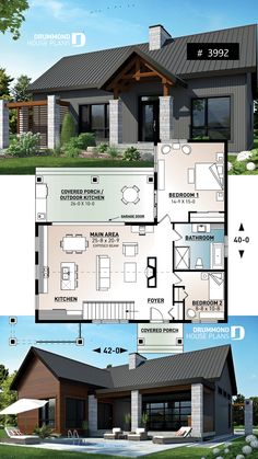Modern rustic bungalow with outdoor kitchen - Turn porch into craft room, move door over to enlarge bedroom - Sims House Plans, Modern House Plans, Small House Plans, House Floor Plans, The Plan, How To Plan, Small House Design, Modern House Design, Bungalow Haus Design