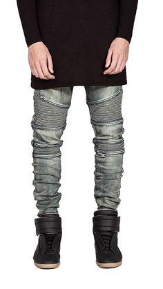d775a928947 Men Denim Jeans Runway Slim Racer Biker Jeans Fashion Hip Hop Skinny  Elasticity Jeans for Men Size