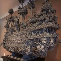 """Leviathan: an eight foot tall, seven foot wide assemblage sculpture """"ghost ship"""" / Boing Boing Ghost Ship, Assemblage Art, Cool Lego, Model Ships, Skull Art, Wood Carving, Sculpture Art, Amazing Art, Awesome"""