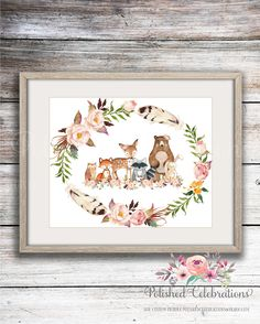 Boho Woodland Animal Friends / 8x10 Nursery Decor / Printable / Floral Watercolor/ Instant Download/ Baby Shower Theme / Bedroom Wall Art