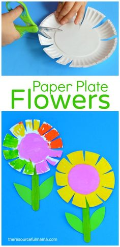 This paper plate flower craft is a great spring and summer craft for kids. It offers kids a great opportunity to work on scissor skills. #craftforkidstomake