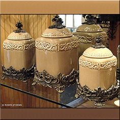 Caffe Latte Canister Set 3 French Country Kitchens Kitchen Tuscany